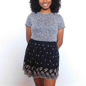 Black Skirt with Embroidery